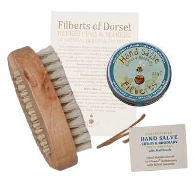 Filberts-of-Dorset-Hand Duos – Hand Salve & Nail Brush
