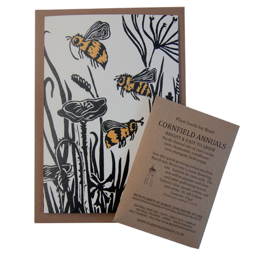 Lino Print Greetings Card with Cornfield Annual seeds