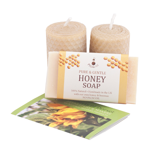 Two votive candles with honey soap
